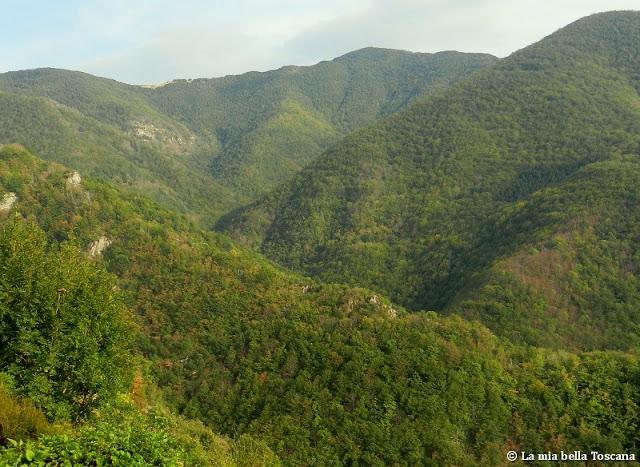 Panorama di montagna in Toscana